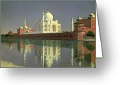 Shimmering Greeting Cards - The Taj Mahal Greeting Card by Vasili Vasilievich Vereshchagin