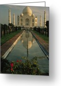 Asian Architecture And Art Greeting Cards - The Taj Mahal With A Reflection Greeting Card by Ed George