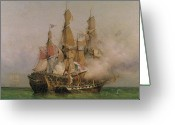 Galleon Greeting Cards - The Taking of the Kent Greeting Card by Ambroise Louis Garneray