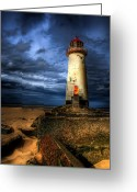 Shore Digital Art Greeting Cards - The Talacre Lighthouse Greeting Card by Adrian Evans