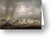 Landing Painting Greeting Cards - The Tanks Go In - Sword Beach  Greeting Card by Richard Willis