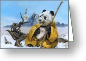 Panda Greeting Cards - The Tao Bear Greeting Card by J W Baker