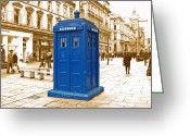 City Centre Greeting Cards - The Tardis Greeting Card by Rob Hawkins