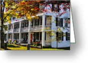 Rocking Chairs Greeting Cards - The Tavern at Grafton - Grafton Vermont Greeting Card by Thomas Schoeller