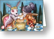 Hatter Greeting Cards - The Tea Party Greeting Card by Lucia Stewart