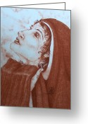 Christ Child Pastels Greeting Cards - The Tear of Madonna Greeting Card by Patsy Fumetti  - SouthWest Design Studio