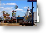 Tonight Greeting Cards - The Tee-Pee Curios on Route 66 NM Greeting Card by Susanne Van Hulst