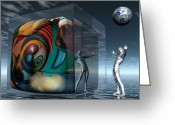 Surrealist Digital Art Greeting Cards - The Television Man is Warping My Mind Greeting Card by Jon Gemma In Your Living Room