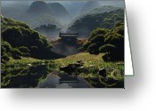 China Greeting Cards - The Temple of Perpetual Autumn Greeting Card by Cynthia Decker