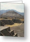 Pre Columbian Antiquities And Artifacts Greeting Cards - The Temple Of The Sun At Teotihuacan Greeting Card by Martin Gray