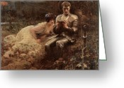 Percival Greeting Cards - The Temptation of Sir Percival Greeting Card by Arthur Hacker