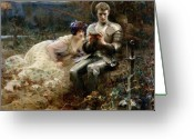 Couples Painting Greeting Cards - The Temptation of Sir Percival Greeting Card by Arthur Hacker