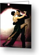 Oil Greeting Cards - The Temptation of Tango Greeting Card by Richard Young
