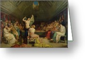 Orientalists Greeting Cards - The Tepidarium Greeting Card by Theodore Chasseriau