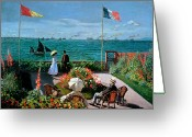 Hat Greeting Cards - The Terrace at Sainte Adresse Greeting Card by Claude Monet