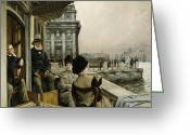 Genteel Greeting Cards - The Terrace of the Trafalgar Tavern Greenwich Greeting Card by James Jacques Joseph Tissot