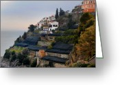 Terraces Greeting Cards - The Terraces of Amalfi Greeting Card by Bill Cannon and Pat Cannon