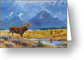 Swans Painting Greeting Cards - The Teton Trio Greeting Card by Steve Spencer