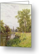 River Banks Greeting Cards - The Thames at Purley Greeting Card by William Bradley