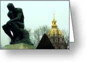 Invalid Greeting Cards - The Thinker and The Chapel of Saint Louis des Invalides Greeting Card by Susie Weaver