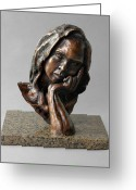 Bronze Sculpture Greeting Cards - The Thinker Greeting Card by Eduardo Gomez