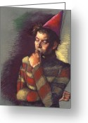 Man Pastels Greeting Cards - The Thinker Greeting Card by Ellen Dreibelbis
