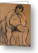 Figure Drawing Greeting Cards - The Thinker Greeting Card by Ethel Vrana
