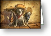 Western Greeting Cards - The Three Banditos Greeting Card by Sean ODaniels