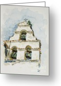 San Juan Bautista Greeting Cards - The three-bell campanario at Mission San Juan Bautista  Greeting Card by Zaira Dzhaubaeva
