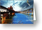 Eastbay Greeting Cards - The Three Benicia-Martinez Bridges . A Journey Through Time Greeting Card by Wingsdomain Art and Photography