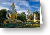 Silk Greeting Cards - The Three Buddhas  Greeting Card by Adrian Evans