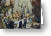 Biblical Mixed Media Greeting Cards - The Three Crosses- After Rembrant Greeting Card by Rick Ahlvers