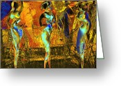 Black Mixed Media Greeting Cards - The three graces Greeting Card by Anne Weirich