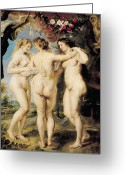 Hair Ornaments Greeting Cards - The Three Graces Greeting Card by Peter Paul Rubens