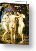 Rubens Painting Greeting Cards - The Three Graces Greeting Card by Pg Reproductions