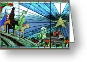 Stain Glass Window Glass Art Greeting Cards - The Three Kings Arriving Porta Coeli. Greeting Card by Dorcas Pabon