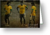 Kicking Football Greeting Cards - The Three Kings Marcelo Hulk Neymar Os Tres Reis  Greeting Card by Lee Dos Santos