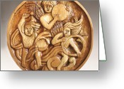 Woodcarving Reliefs Greeting Cards - The Three Singing Angels  Greeting Card by James Neill
