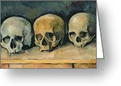 Post-impressionist Greeting Cards - The Three Skulls Greeting Card by Paul Cezanne