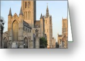 Gent Greeting Cards - The Three Towers of Gent Greeting Card by Marilyn Dunlap