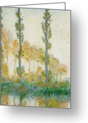 Reeds Reflections Greeting Cards - The Three Trees Greeting Card by Claude Monet