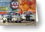 Mustang Greeting Cards - The Thundering Blue Stripe GT-350 Greeting Card by David Lloyd Glover