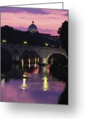 River Scenes Greeting Cards - The Tiber River And The Dome Of St Greeting Card by Richard Nowitz