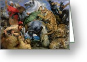 Big Cats Greeting Cards - The Tiger Hunt Greeting Card by Rubens