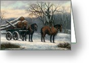 Carriage Team Greeting Cards - The Timber Wagon in Winter Greeting Card by Anonymous