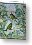 Blue Tapestries - Textiles Greeting Cards - The Time Of Singing Birds Greeting Card by Carolyn Doe