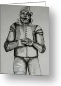 Wizard Drawings Greeting Cards - The Tin Man Greeting Card by Paula Deutz