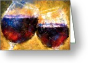 Vineyard Digital Art Greeting Cards - The Toast Greeting Card by Jeri Kelly