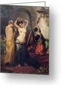 Orientalist Greeting Cards - The Toilet in the Seraglio Greeting Card by Theodore Chasseriau