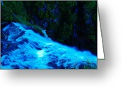 Wild Rivers Greeting Cards - The Top Of Narada Falls Greeting Card by Jeff  Swan